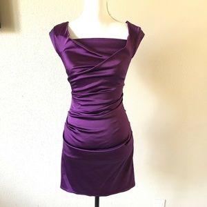 TALBOT RUNHOF Purple Cap Sleeves Ruched Mini Dress